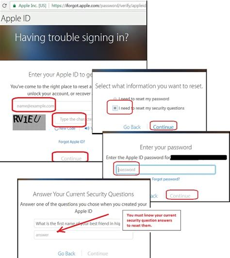 Apple (iPhone) - Apple Article on Forgot Security Question