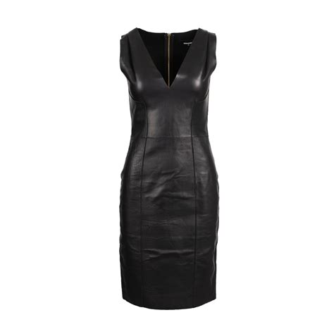 Authentic Second Hand Dsquared2 V-Neck Leather Dress (PSS