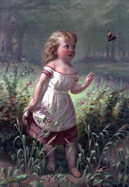 Child Chasing Butterfly Painting Free Stock Photo - Public