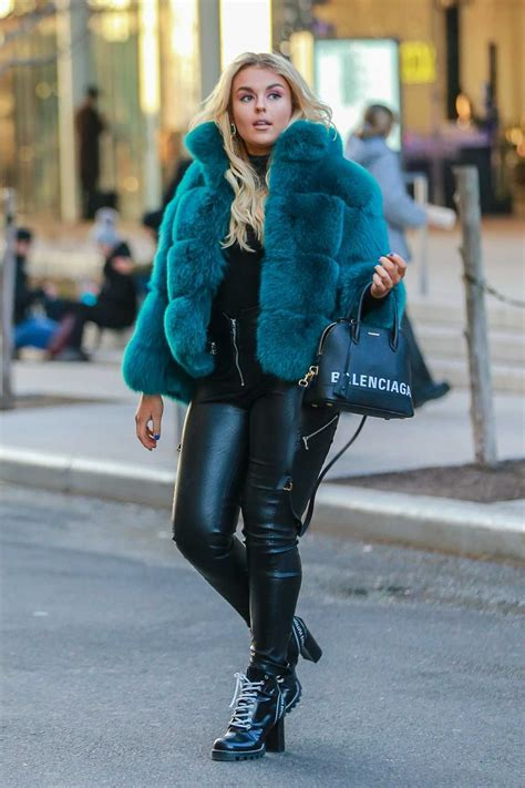 Tallia Storm in a Short Blue Fur Coat Was Seen Out in New