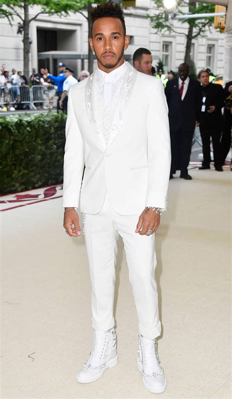 Met Gala 2018: Lewis Hamilton stands out in all white amid