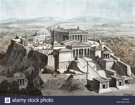 Reconstruction of the Acropolis of Athens, Greece Stock