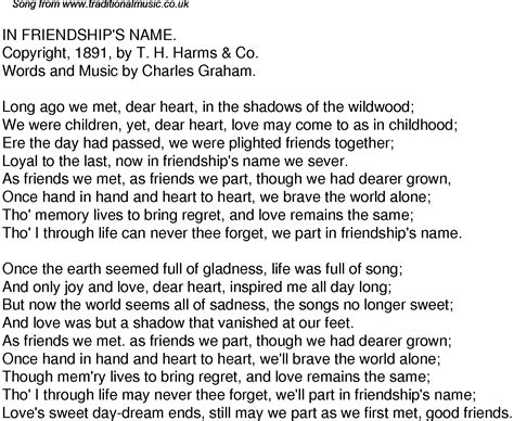 Old Time Song Lyrics for 46 In Friendships Name