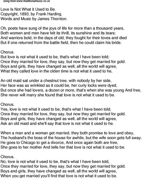 Old Time Song Lyrics for 41 Love Is Not What It Used To Be