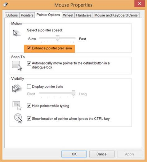 Enhance Mouse Pointer Precision in Windows 10
