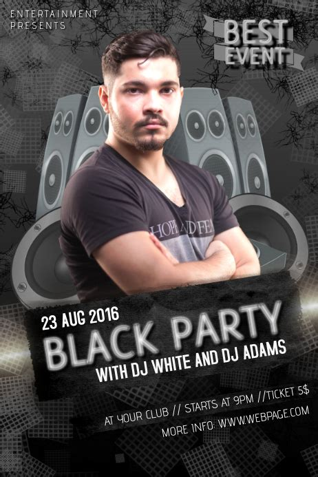black dj party event club bar flyer template   PosterMyWall